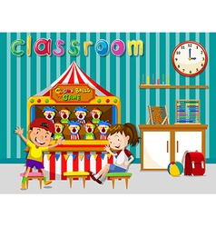 Children playing in classroom vector