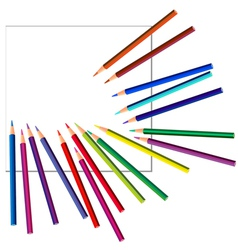 colored pencils on white paper vector image vector image
