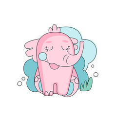 cute hand drawn pink elephant sitting with closed vector image