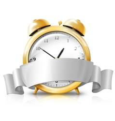 Golden alarm clock with silver white banner -Sale vector image vector image
