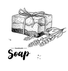 handmade natural soap hand drawn vector image