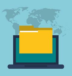 laptop folder file information digital vector image