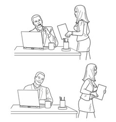 man looking man looks at a woman in front and back vector image