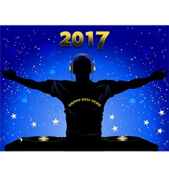 New Years 2017 DJ silhouette and record decks vector image