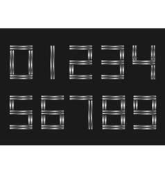 Silver metal numbers vector image vector image