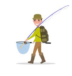 cartoon man fisherman fishing vacation vector image vector image