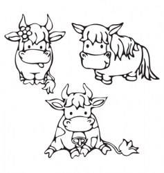 cute small cows and horse vector image vector image