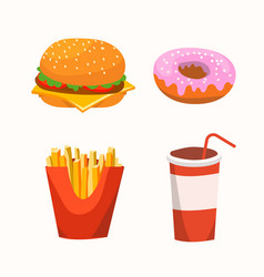 fast food with burger drink donuts fries vector image