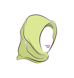 Beautiful muslim woman in hijab on her head vector