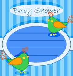 Bird baby shower invitation-boy vector image