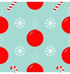 Christmas ball snowflake candy cane Seamless vector image