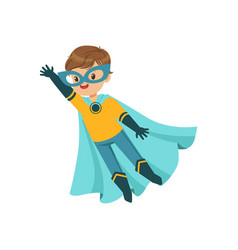 comic brave kid in blue and yellow superhero vector image