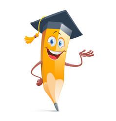funny pensil in graduation cap education concept vector image