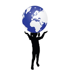 kid with earth vector image vector image
