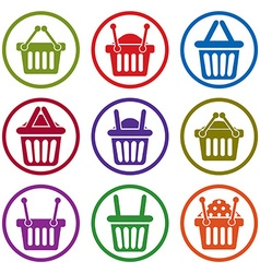 Shopping basket icons isolated on white background vector image vector image