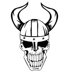 skull in viking helmet vector image