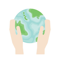 Two hands hold a planet earth in flat style vector