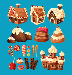 3d cartoon icons of sweets for game design vector