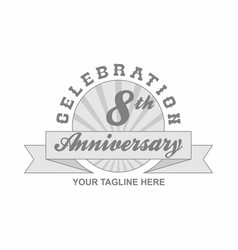 8 th anniversary grey shine background vector