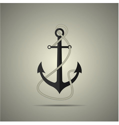 Anchor with rope icon flat style vector