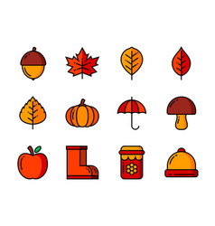 autumn icon set color and thin line symbols vector image