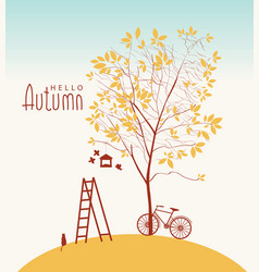 banner with autumn tree and inscription vector image