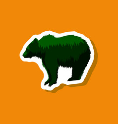 Bear paper sticker on stylish background vector