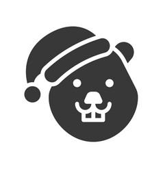 Beaver wearing santa hat silhouette icon design vector