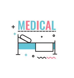 bed in the hospital with the inscription vector image