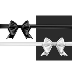 black silver bow on white background greeting card vector image