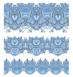 Blue colour seamless ethnic floral paisley stripe vector