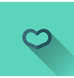 Blue heart icon Flat design vector image