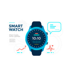 blue smart watch with app icon flat vector image