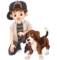 Boy and beagle dog vector