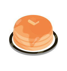 breakfast pancakes with butter and syrup food flat vector image