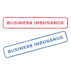 Business insurance textile stamps vector