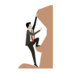 Businessman trying to climb to the top of rock in vector