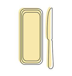 Butter bar and knife icon vector