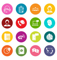 call center symbols icons many colors set vector image