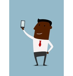 Cartoon african american businessman taking selfie vector image