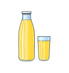Cartoon glass bottle of lemon fruit juice vector