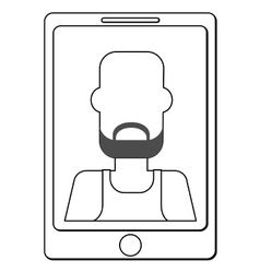 Cellphone with man on screen vector