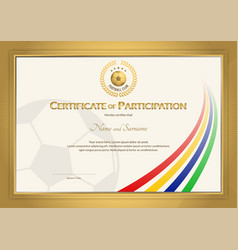 Certificate template in football sport color vector