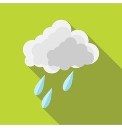 Cloud and rain drops icon in flat style vector image