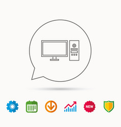 Computer pc icon widescreen display sign vector