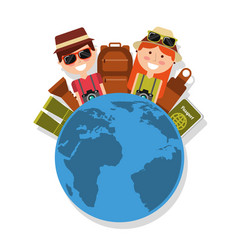Couple with world travel vacations baggage vector