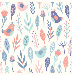 cute birds and plants vector image