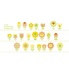 Cute decorative flower design elements vector