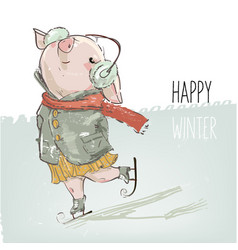 Cute lovely cartoon pig skating vector