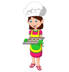 Cute mom cartoon with food vector
